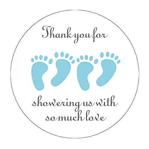 MAGJUCHE Blue It's Twins Thank You for Coming Baby Shower Stickers, Two Boys Little Feet Party Favor Stickers, 2 Inch, 40-Pack