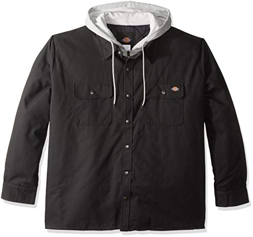 Dickies Men's Relaxed fit Hooded Duck Quilted Shirt Jacket Big, Black, 4X