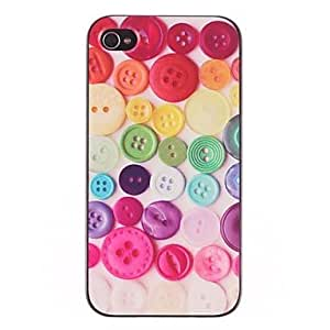 SUMCOM Colorized Fastener Pattern PC Hard Case with Black Frame for iPhone 4/4S