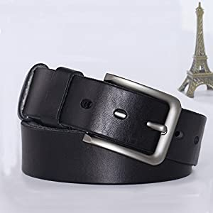 PAZARO Men's Super Soft Top Grain 100% Leather Belt Black Color