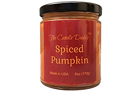 Spiced Pumpkin Spice Scented Candle - 6 oz jar Candle - up to 40 Hour Burn - Poured in Small batches in USA - Halloween- Fall Scent