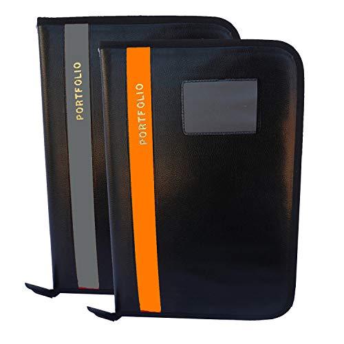 Kopila Portfolio Office Document Certificate File Folder A4 & FS Size Set of 2 Grey & Orange