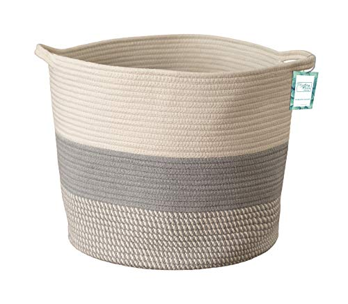Toys Trudy (Extra Large Cotton Rope Woven Storage Basket XL Tall Grey Décor Basket for Blanket, Baby Nursery Hamper Bin, Toy Tote - A Cute Round Laundry, Diaper and Towel Baskets with Handles 15