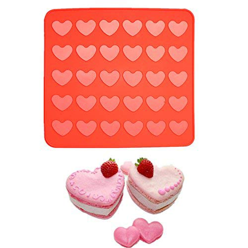 Delidge 30 Holes Heart Macaron Macaroon Baking Sheet Mat Muffin DIY Chocolate Cookie Mould Baking Pastry Tools - 30 Capacity (Heart) 10A1103051