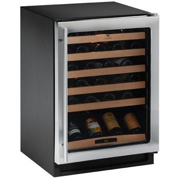 U Line Wine Captain 2000 Series: 2175WCCS-00 24'' Built-in Wine Storage with 48 Bottle Capacity, Solid Beech Wood-Trim Full Extension Wine Racks and Single Zone Convection Cooling: Right Hand Hinge,Stainless Steel