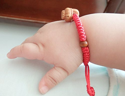 Eye Away (2pcs Handmade Newborns Baby Red String Kids Bracelets for Protection and good luck (Peach basket))