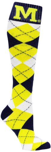 Donegal Bay NCAA Michigan Wolverines Argyle Socks, Blue/Maize/White