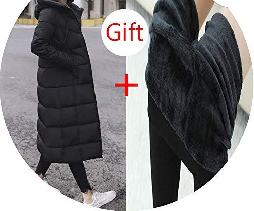 spyman Coat Feminina Pockets Long Down Jacket Solid Long Hooded Down Coat Jacket Women,X-Large,Black