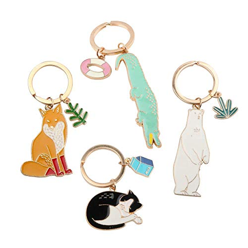 - NN-BH keychain, animal car keychain, male and female lovers cute keychain, metal key ring