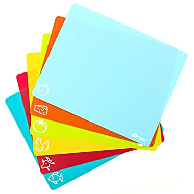 #1 Best Cutting Mat Set. Colorful Kitchen Cutting Board Set, Super Easy Clean Modern Cutting Boards, Nice Flexible Non-Stick Surface. 6 Pieces. Imperial Kitchen Collection