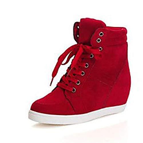 Scarpe 5 Primavera Rosso Sneakers TTSHOES Di Per Corda CN37 Donna Punta Nero Tonda EU37 UK5 Zeppa Comoda Red US7 ExCwCTq