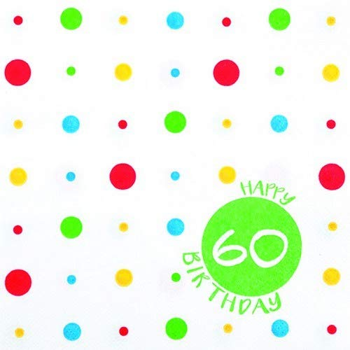 Servietten Geburtstag 20 servilletas de Colores 60 años como ...