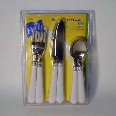 EKCO Flatware 12 Piece Set White Plastic (Stainless Fork Steel Ekco)