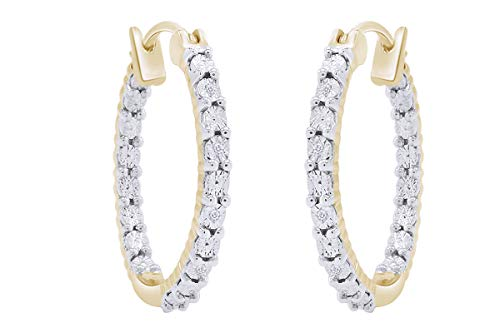 Aria Jewels Inside Outside Miracle Plate Diamond Accent Hoop Huggies Earrings in 14K Yellow Gold Over Sterling Silver For Women