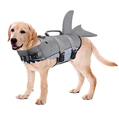 Petacc Dog Life Jacket Pet Floatation Vest Dog Lifesaver Dog Life Preserver for Water Safety at The Pool, Beach, Boating (M, Shark) (Shark Life Jacket)