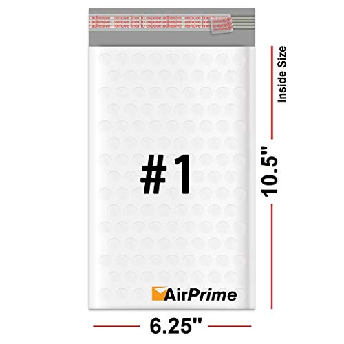 (Airprime Mailers - Size 1 7.25x12, 50 Count - White Poly Bubble Mailer Padded Envelope)