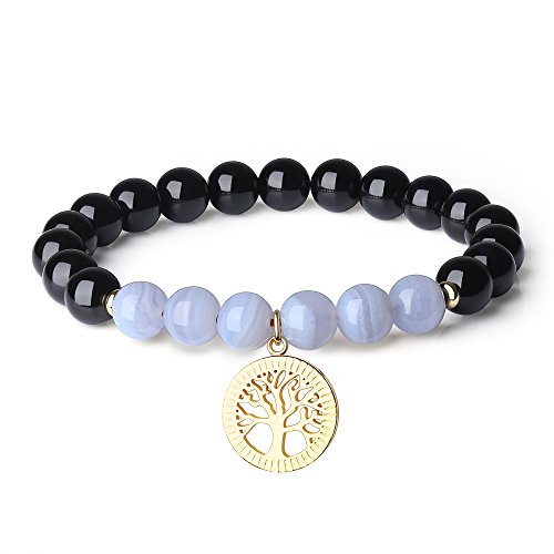 COAI Tree of Life Charm Blue Lace Agate Tourmaline Bracelet for - Meaning Blue Agate Lace