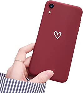 Ownest Compatible with iPhone XR Case for Soft Liquid Silicone Heart Pattern Slim Protective Shockproof Case for Women Girls for iPhone XR-Red Wine