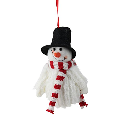 "Northlight 5"" Smiling Fuzzy Snowman with Top Hat and Striped Scarf Christmas Figure Ornament"