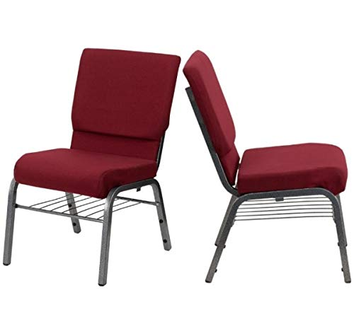 (Modern Design Commercial Grade Banquet Chair Sturdy 16 Gauge Steel Frame Durable Fabric Upholstery Seats with Book Racks Church Home Office Furniture - Set of 2 Burgundy Fabric/Silver Frame - #2140)