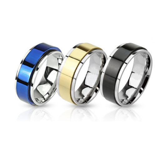 Ring Set Two Toned Spinner Bands Stainless Steel Rings - 3 Pieces Value Pack - Size 10