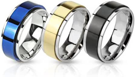 BodyJ4You Ring Set Two Toned Spinner Bands Stainless Steel Rings - 3 Pieces Value Pack