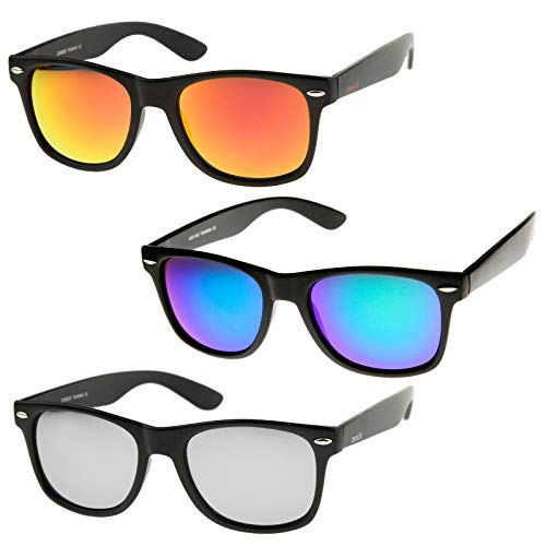 Uv Rays Shade - zeroUV - Retro 80's Classic Colored Mirror Lens Square Horn Rimmed Sunglasses for Men Women (3 Pack | Orange + Green-Blue + Silver)
