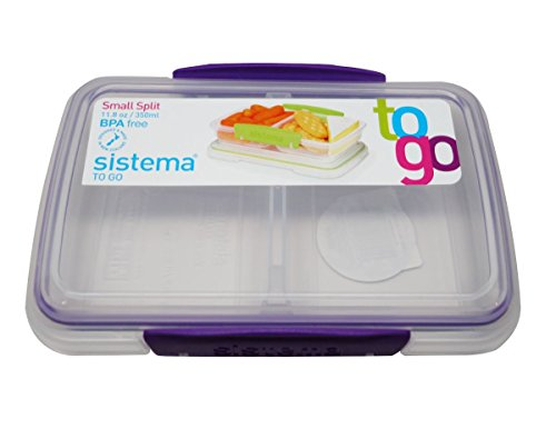 Split Food Container (Sistema BPA-Free Small Split Reusable Food Storage Container, Purple, 3-Pack)