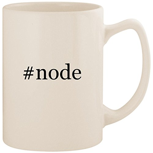#node - White Hashtag 14oz Ceramic Statesman Coffee Mug Cup