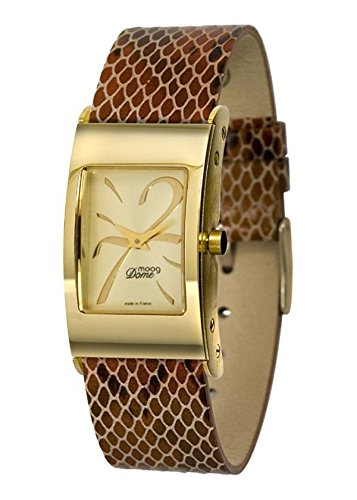 Moog Paris Women's XWA3665  Domed Gold-Plated Analog Watch