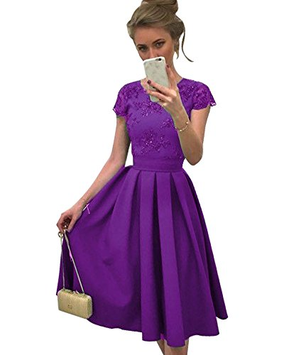 Minetom Femme Elegant Col Rond Manches Courtes Dos Nu Florale Crochet Dentelle Robe de Soire Party Cocktail Vintage Swing Dress A Violet