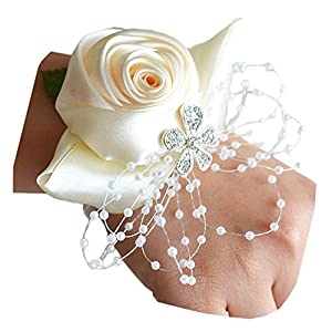 Arlai Rhinestone Rose Flower Bud Elastic Band Stretch Bracelet Wedding Prom Wrist Corsage Hand Flower Pack of 1 Beige 28