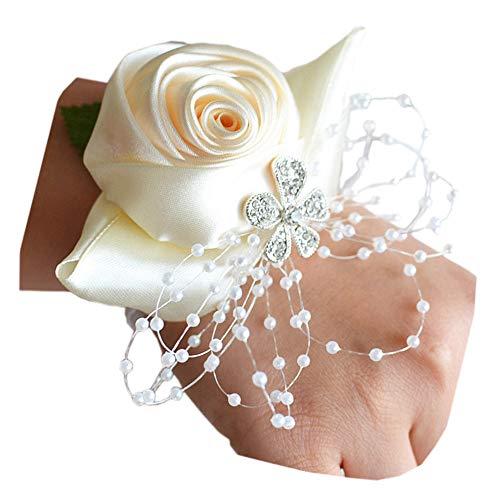 (Arlai Rhinestone Rose Flower Bud Elastic Band Stretch Bracelet Wedding Prom Wrist Corsage Hand Flower Pack of 1 Beige)