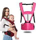Kaipiclos Baby Carrier with Hip Seat for Newborn Infant and Toddler, Ergonomic Baby Wrap Carrier Backpack (2-36 Months) (Pink, OneSize)