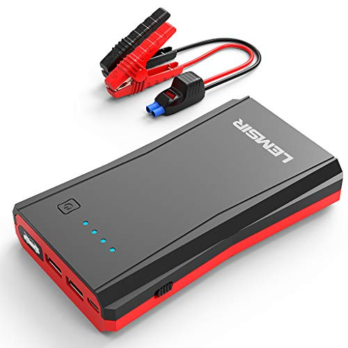 LEMSIR QDSP 800A Peak Portable Car Lithium Jump Starter up to 7.2L Gas or 5.5L Diesel Auto Battery Booster Power Pack with Smart Jumper Cables V8 (Emergency Auto Starter)