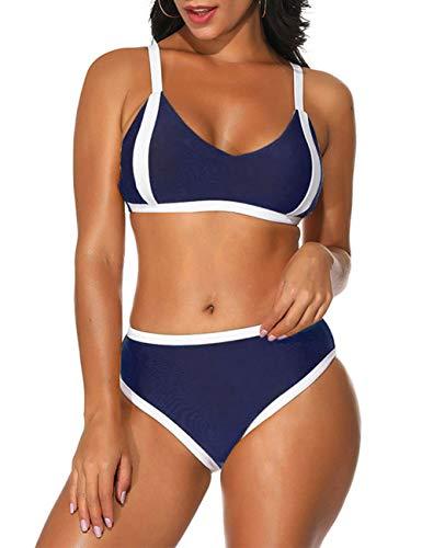 (Lover-Beauty 2 Pieces Bikini Set for Women Vintage Swimsuit High Waist Swimwear Navy Blue)