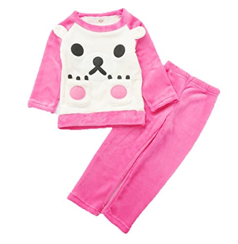 Price comparison product image ANFF Girls Pajama Sets Flannel Warm Bear Cute Sleepwear Size 3-14 Years PS3