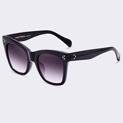 lujo Gafas de TIANLIANG04 estilo C01Gradient Gray sol moda gafas Vintage hembra Gafas de sol de Sombra degradado UV400 de gafas C03Marrón de remache xppWYqwP