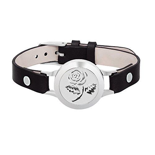 SENFAI Rose Flower Aromatherapy Stainless Steel Locket Bracelet Genuine Leather Band Bangle(Black Band + Silver face) ()