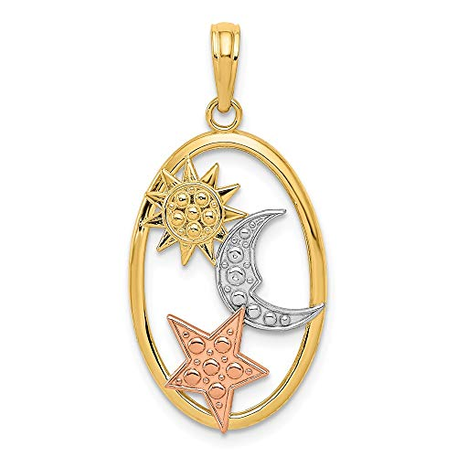 14k Yellow Rose Gold Sun Moon Star Oval Pendant Charm Necklace Celestial Fine Jewelry Gifts For Women For Her ()