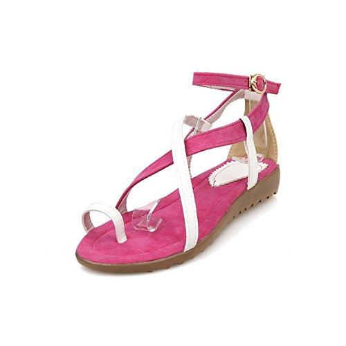 Odomolor Damen Blend-Materialien Gemischte Farbe Schnalle Niedriger Absatz Sandalen Rot