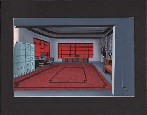 BATMAN THE ANIMATED SERIES Hand-painted, production animation BACKGROUND USED IN YOUR FAVORITE CARTOON! ()