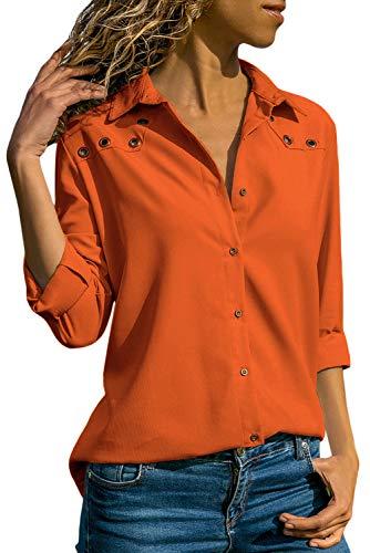 Women's Casual Long Sleeve Blouse Button Down Shirts Tops, Orange, US XL (16-18)