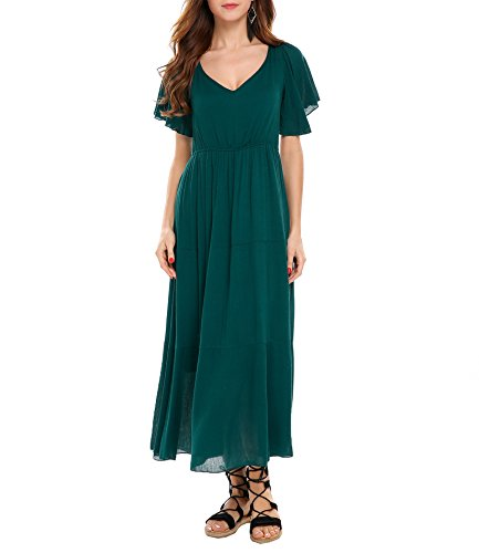 Back Tassel Hollow Out Pleated High Waisted Long Maxi Dress (Green,XL) ()