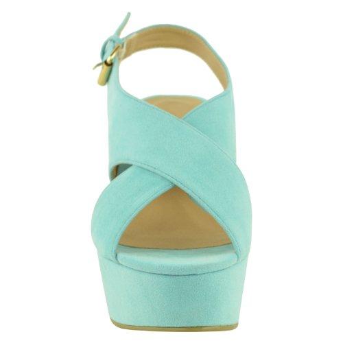 Mujer Alto Tacón Mediano Plataforma Plana Zapatos De Cuña Sandalias peep-toe Talla Verde Menta ante