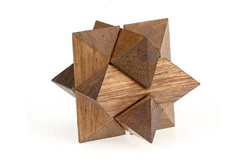 StealStreet SS-CQG-6106 Wooden Star Shaped Brain Teaser 3D Puzzle, 3-Inch, Dark Brown -