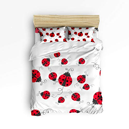 Cloud Dream Home 4 Piece Bedding Set,Red Ladybug Duvet Cover Set Quilt Bedspread for Childrens/Kids/Teens/Adults Twin Size(Small)