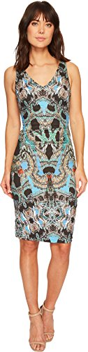 Nicole Miller Women's Double V-Neck Dress Blue/Multi 4
