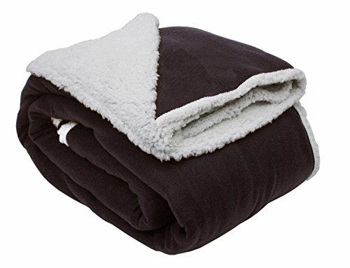J & M Home Fashions Solid Polar Front/Sherpa Back Fleece Blanket, 60 x 96