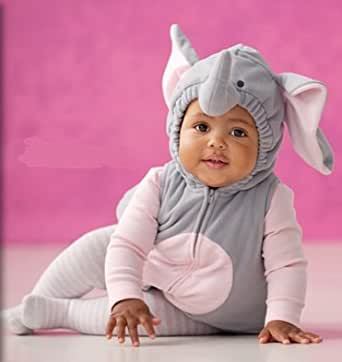 Carter's Elephant Halloween Costume 3 Pieces Gray Pink Hooded Top Shirt Tights NEW (24 months)
